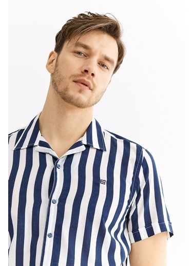 Avva Erkek  Çizgili Apaş Yaka Slim Fit Gömlek A01Y2109 Lacivert